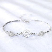 LUKENI 2018 Hot Snowflake Female Bracelets Jewelry Crystal Blue Top Quality 925 Sterling Silver Bracelet For Women Birthday Gift