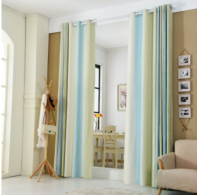 1pc Blue And Green Striped Printed Window Curtains For The Bedroom Fancy Children Modern