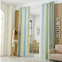 1PC Blue and Green Striped Printed Window Curtains for the Bedroom Fancy Children Modern Curtains for