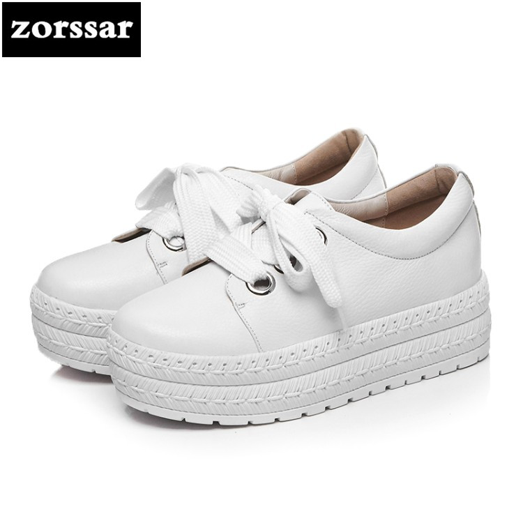 {Zorssar} 2018 women flats shoes platform sneakers shoes Genuine Leather casual shoes lace up flat Loafers women Creepers shoes rihanna pu leather creepers flat platform shoes woman 2016 casual loafers black pink flats lace up women shoes