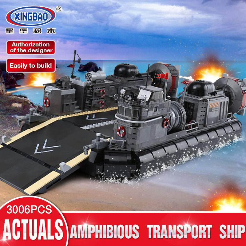 XINGBAO 06019 Genuine 3006Pcs Military Series The Amphibious Transport Ship Set Building Bricks Blocks Toys As Christmas Gifts black pearl building blocks kaizi ky87010 pirates of the caribbean ship self locking bricks assembling toys 1184pcs set gift