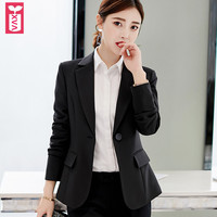Export Brand Formal Single Button Blazers Office Lady Coats Womens Slim Fit Jacket Black Long Sleeve Small Suit 2019
