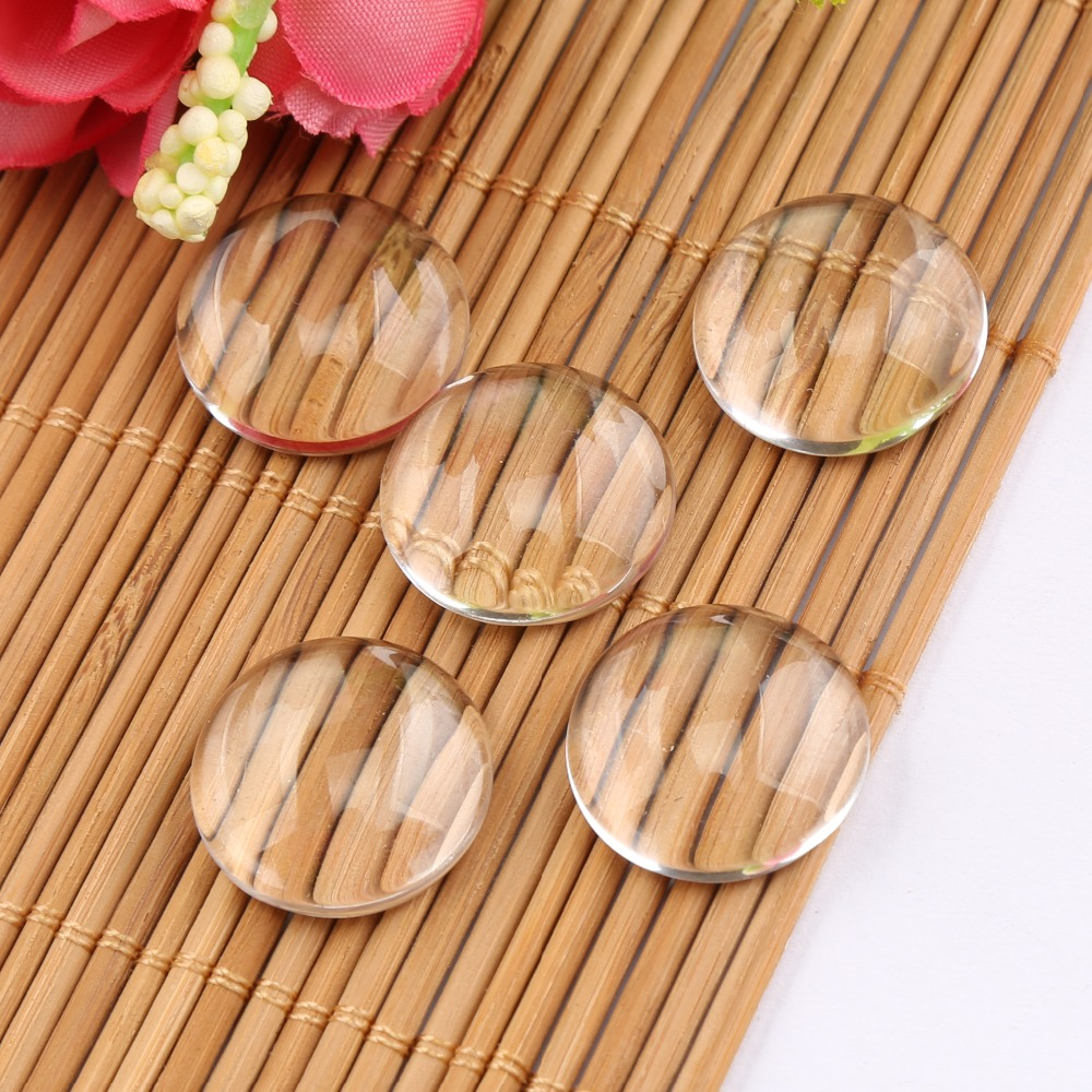 Onwear 10pcs Round Flat Back Transparent Clear Glass Cabochon 20mm 25mm 30mm Diy Pendant Jewelry Making Findings