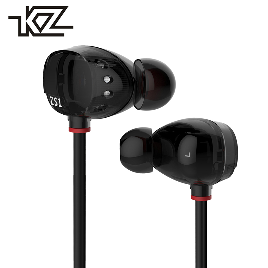 KZ ZS1 Stereo Earbud Wired Headphone With Microphone In-ear Earphones For Phone iPhone Headset In Ear Headfone Earpiece Kulakl K kz wired in ear earphones for phone iphone player headset stereo headphones with microphone earbuds headfone earpieces auricular