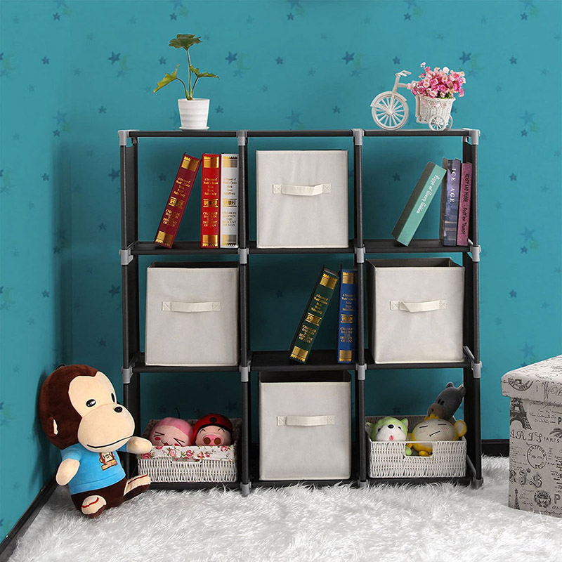 3 Tiers 9 Compartments Storage Shelf Non Woven Fabric Bookshelf Organizer Cabinet Bookcase Home Living Room Furniture In Bookcases From On