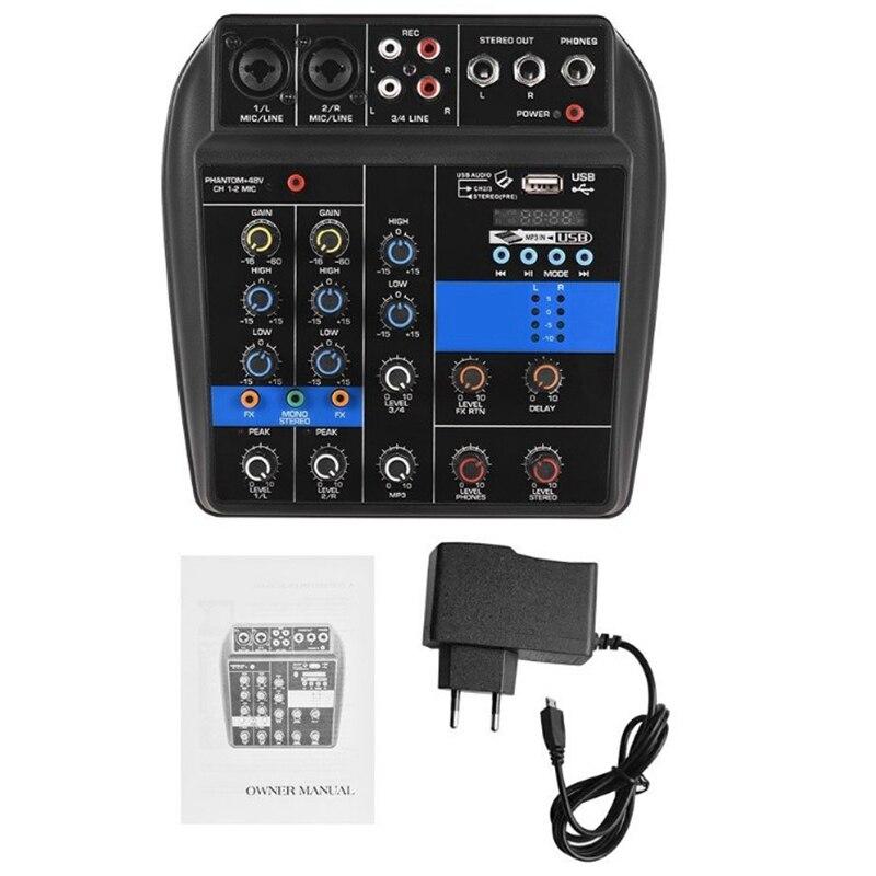 fantasma 4 canais misturador de áudio com usb (ue plu