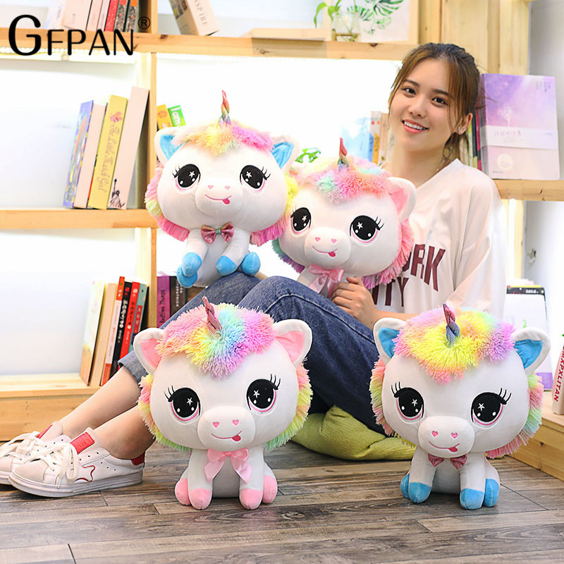 GFPAN 35cm Lovely Unicorn Plush Toys Soft Stuffed Cartoon Unicorn Dolls Cute Animal Horse Toys Birthday Gift For Children браслеты page 9
