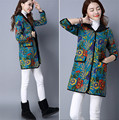 2016 Winter Coat Floral Printing Vintage Style Padded Coat Hooded Women Jacket Cotton Linen Quilted Long Coat