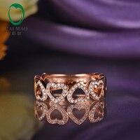 Caimao Jewelry 14k Gold Natural 0.21ct Diamond Heart Shape Engagement Wedding Band Ring