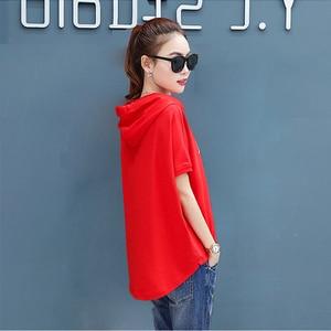 Image 2 - Camiseta holgada informal de verano con capucha para mujer, ropa de algodón de manga corta en rojo y blanco, con estampado, talla grande, 2020