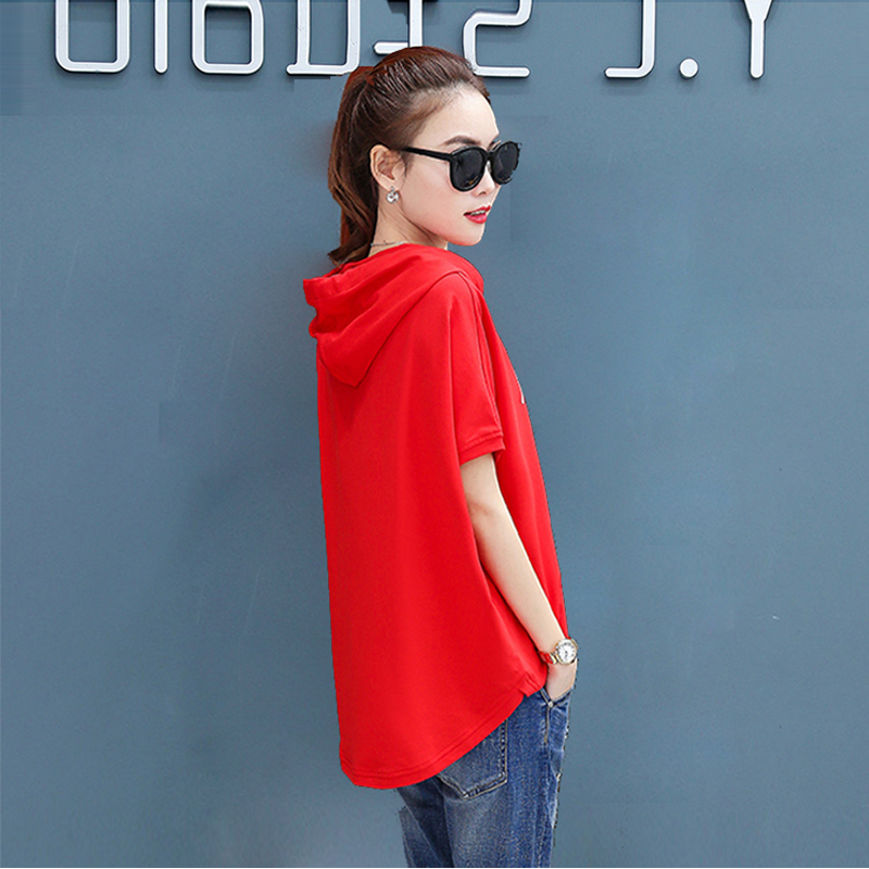 Image 2 - T shirt female 2020 new  hooded loose summer casual red white  short sleeved large size  women fashion printing t shirt  CottonT-Shirts   -