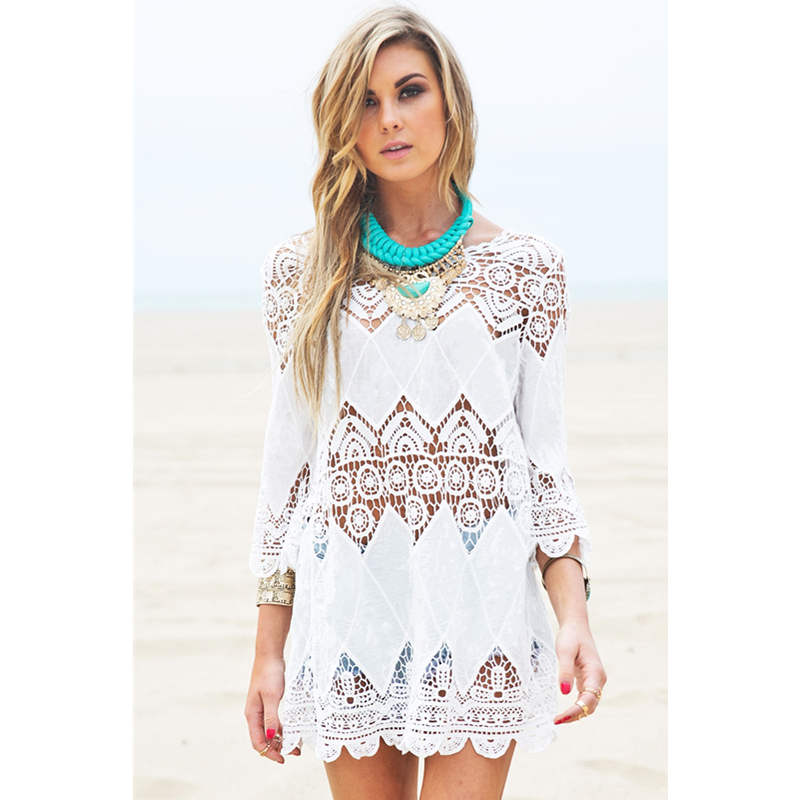 Prodyšné Quick Dry 2015 New Arrival Sexy India Kaftan Beachwear Bohemic Crochet Beach Tunic For Ladies L38266