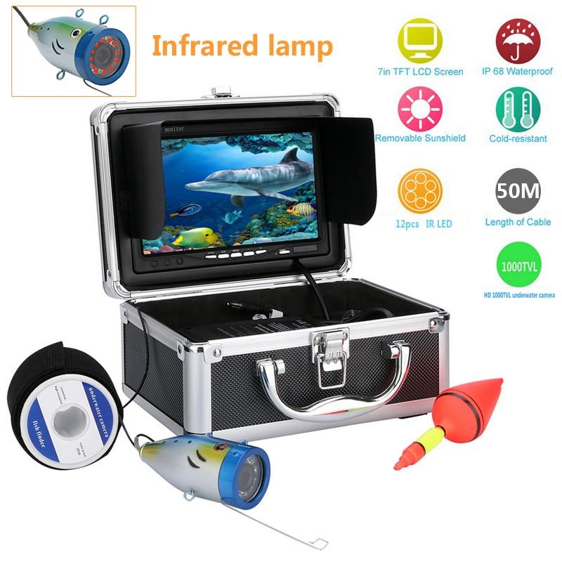 GAMWATER 7 HD 1000TVL Underwater Fishing Video Camera Kit 12pcs Infrared Lamp Lights Video Fish Finder Camera 15M 20M 30M 50M 30m video