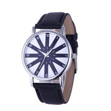 Hot Unique Women's Geneva Fashion Leather Analog Stainless Steel Quartz Wrist Watch Drop Shipping F12