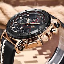 лучшая цена LIGE New Creative Men Watch Top Brand Luxury Chronograph Quartz Watches Clock Men Leather Sport Army Military Wrist Watches Saat