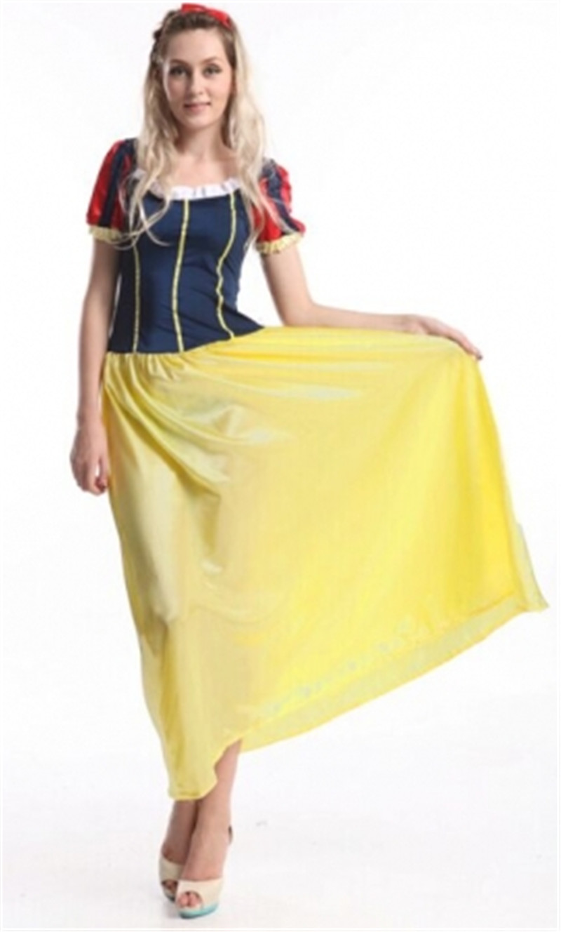 Plus Size S-6xl Snow White Fancy Dress Cosplay Costumes Halloween Yellow Dress Stage Costumes