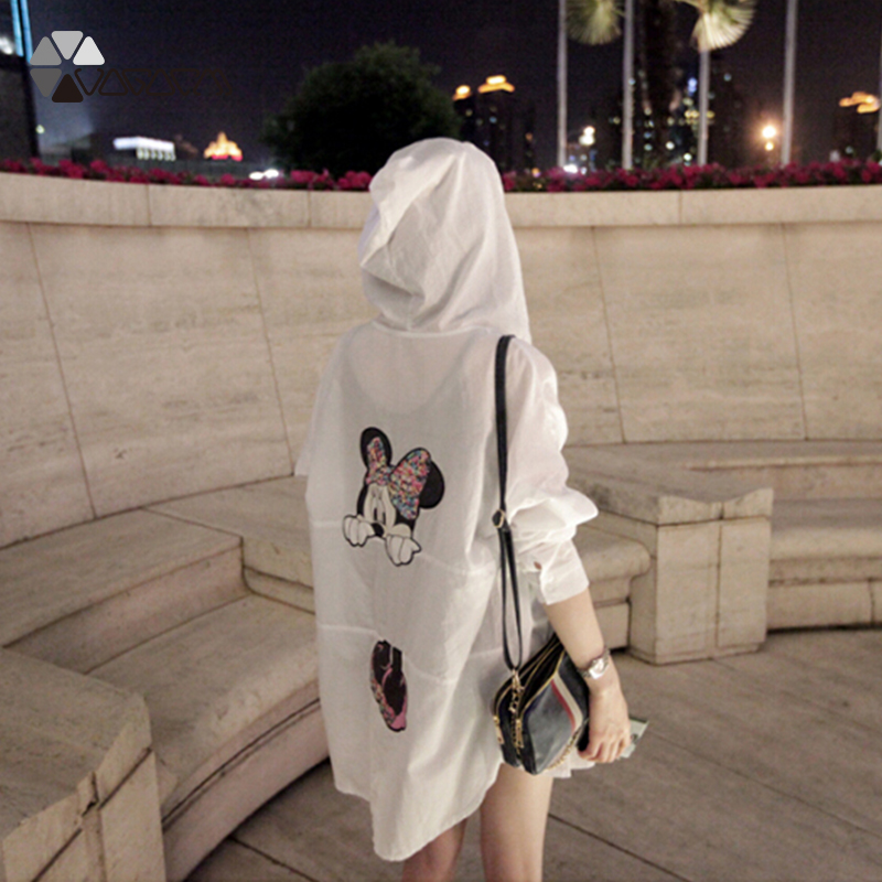 Summer Sun Protection Minnie Mickey Mouse Women Clothes Transparent Plus Size Shirt Beach Sunscreen Cover-Ups Blouse Femme Smock 32