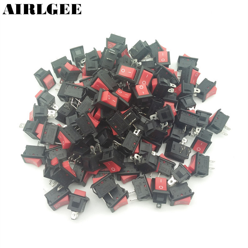 Free Shipping 100pcs 2 Positions ON-OFF Rocker Switch 2 Pin Copper Feet 250V 6A 125V 10A Red Black 20pcs lot mini boat rocker switch spst snap in ac 250v 3a 125v 6a 2 pin on off 10 15mm free shipping