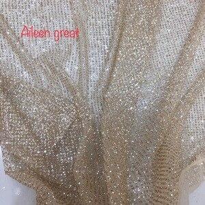 5 yardas diseño de lunares oro plateado clásico brillo tul encaje tela 2019 alta calidad para vestido de fiesta
