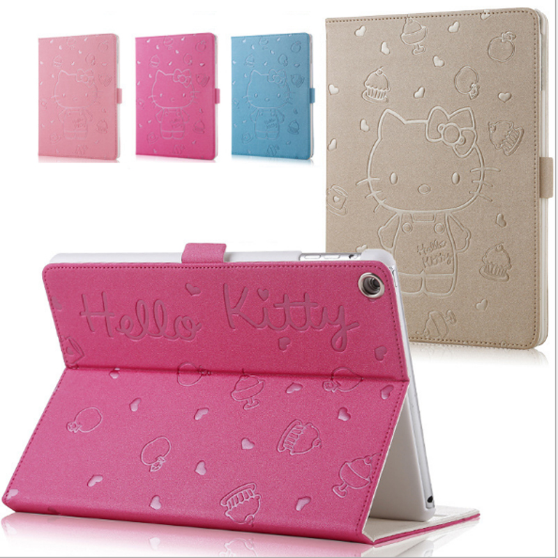 For iPad 6 KT Cover Stand PU Leather For Apple ipad Air 2 Case Tablet Cover New Cute Cartoon 3D Button Hello Kitty Case for ipad air 2 pu leather case 3d stereo