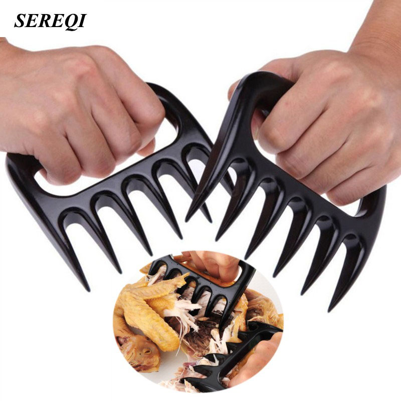 SEREQI 2PCS/Set Home Kitchen Blacks Meat Claws Shredder Chicken Separator Easy Clean Use Kitchen BBQ Barbecue Cooking Tools