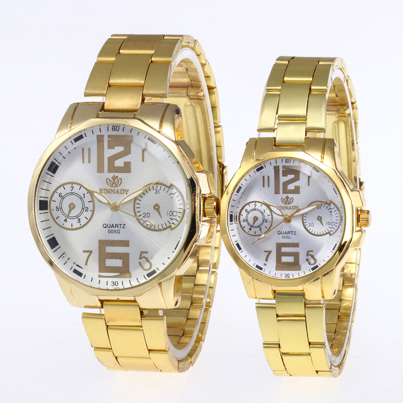Relogio Feminino 1PC Fashion Luxury Couple Quartz Watch Dial Hour Digital Women Watches Men Gold Steel Wristwatches Clock Gift