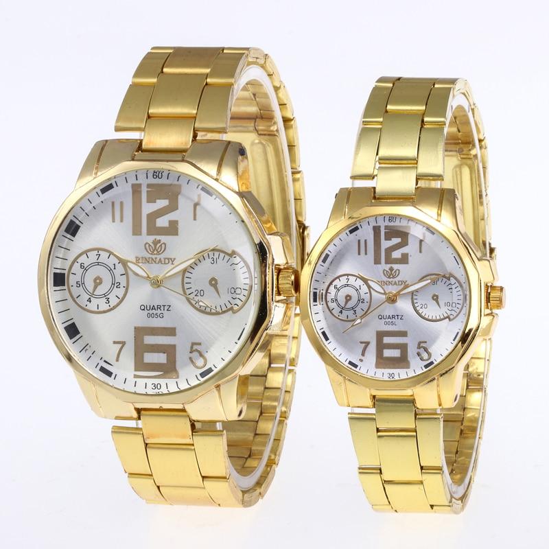 Relogio Feminino 1PC Fashion Luxury Couple Quartz Watch Dial Hour Digital Women Watches Men Gold Steel Wristwatches Clock Gift