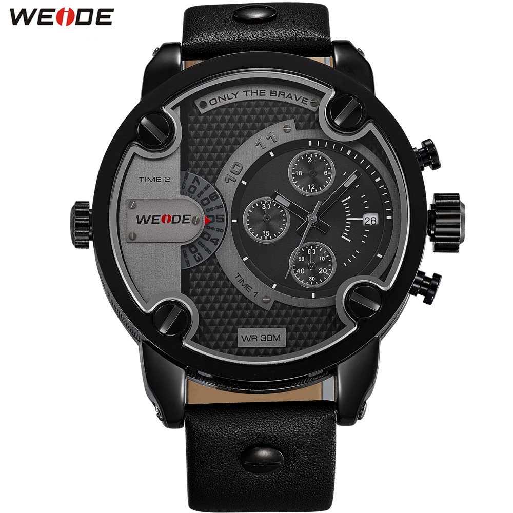 Fashion Brand WEIDE Dress Watch Men Quartz Round Case 30m Waterproof Watch Leather Band Bussiness Man Wristwatch Montre Homme weide original brand sports military watch men fashion quartz wrist watch pu band 30m waterproof multifunctional sale items