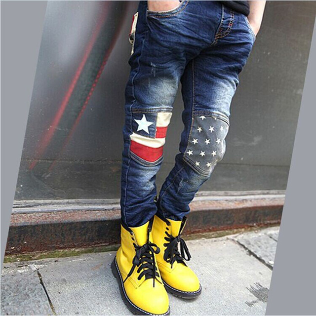 boys casual children pants  2016 child jeans spring autumn all-match pentastar /boys  superior  quality pants jeans