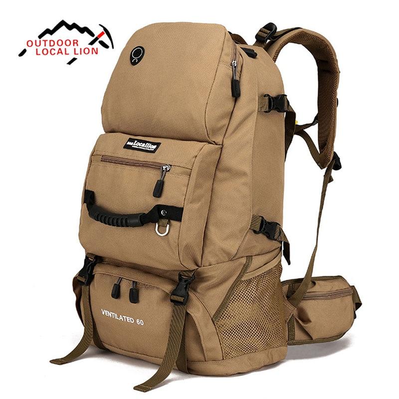 design de qualité 7cf8a 3ecd2 € 37.35 12% de réduction|LION LOCAL 60L extérieur hommes femmes Trekking  randonnée sac à dos voyage voyage bagages epaules sac pour Camping  randonnée ...