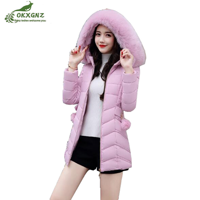 Winter new lady coat fashion large size Slim thickening jacket coat women warm fur collar Down cotton   Outerwear OKXGNZ AF238 new arrival hotsale 2015 fashion winter warm large fur collar down coat medium long demale thickening outerwear
