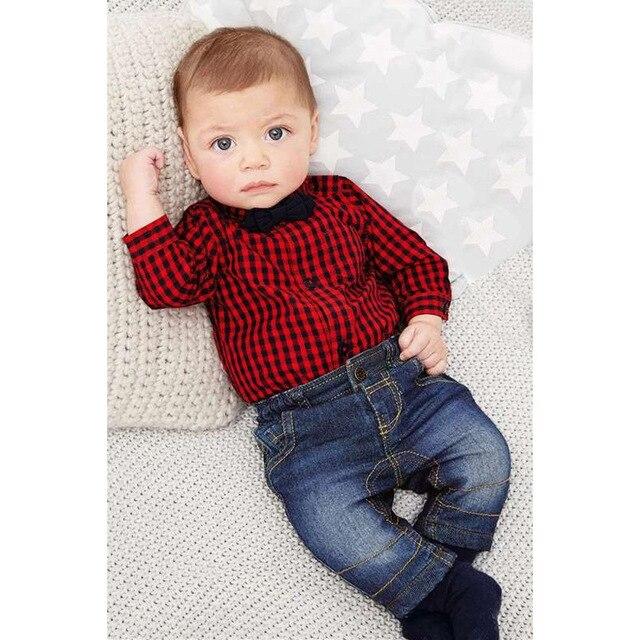 82a834f25 Moda 0 a 24 meses bebé niño ropa niños primavera manga larga botón  camisetas mamelucos +