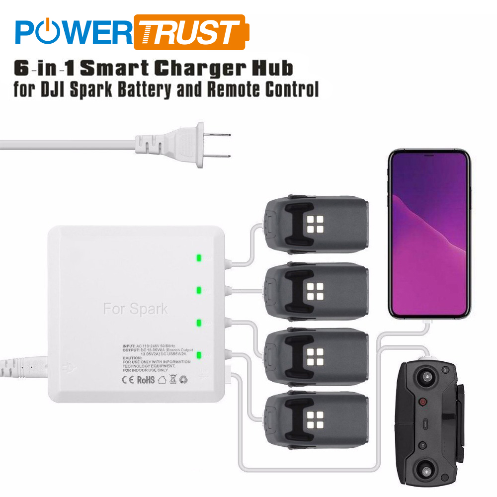 PowerTrust US Plug 6-in-1 Smart Charging Hub for DJI Spark Drone Battery and Remote Control Charger Accessories 6 in 1 battery parallel charger charging hub for dji spark combo remote control dual usb battery charger for dji spark