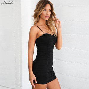 Image 5 - Macheda Sexy Bodycon Bandage Dress Women Spaghetti Strap Black Sheath Mini Dress Casual Party Halter Dress Vestidos 2018 New