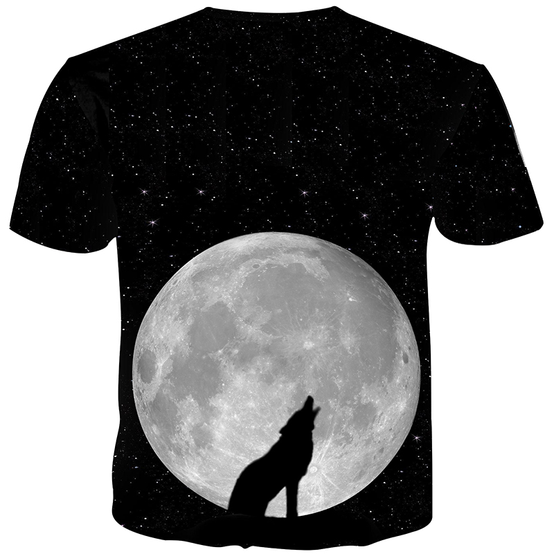Cloudstyle 3D T shirts Men Clothes 2019 Night Moon Wolf 3D Print Simple Short Sleeves Tee Shirt Summer Top Casual Plus Size 5XL - 2