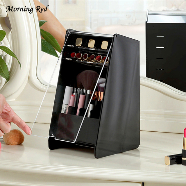 With Lid Dust Proof Makeup Brush Rack Dresser Organizer Cosmetic Storage Box Fashion Plastic Lipstick Rack Decorate Your Beauty