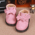 Nova flor criança infantil princesa meninas inverno super quente de lã arco shoes sapatinho de bebê recém-nascido menina botas de sola macia