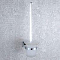 Toilet Brush Tool Holder 304 Thép Không Gỉ Đồng Hiện Đại Treo Tường Bền Chrome Glass Cốc Bàn Chải Thiết Lập cho phòng tắm Nhà Vệ Sinh Sạch