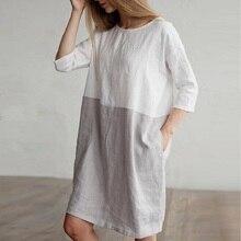 Летние льняные свободные строчки хит Круглый воротник рукав укороченный рукав платье халат платье Для женщин vestidos старинные платья одежда 2018