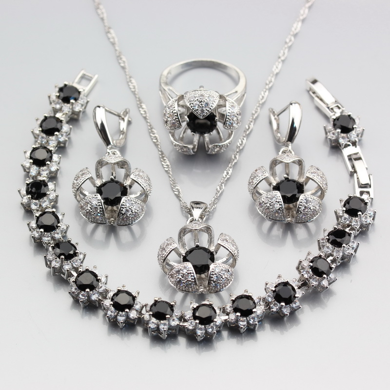 Jewelry-Sets Exclusive Bracelet Zircon Ring-Size Silver 925 Women 4PCS for Black 6 -7