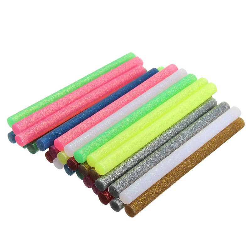 30Pcs/set Colored Hot Melt Glue Sticks 7mm Adhesive Assorted Glitter Glue Sticks Professional For Electric Glue Gun Craft Repair