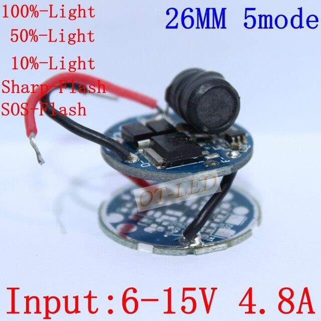 Cree xlamp xhp70 6 v motorista levou 26mm dc6v-15v modo 1/modo 3/5 modo de entrada 4800ma saída para xhp70 conduziu a lâmpada de luz