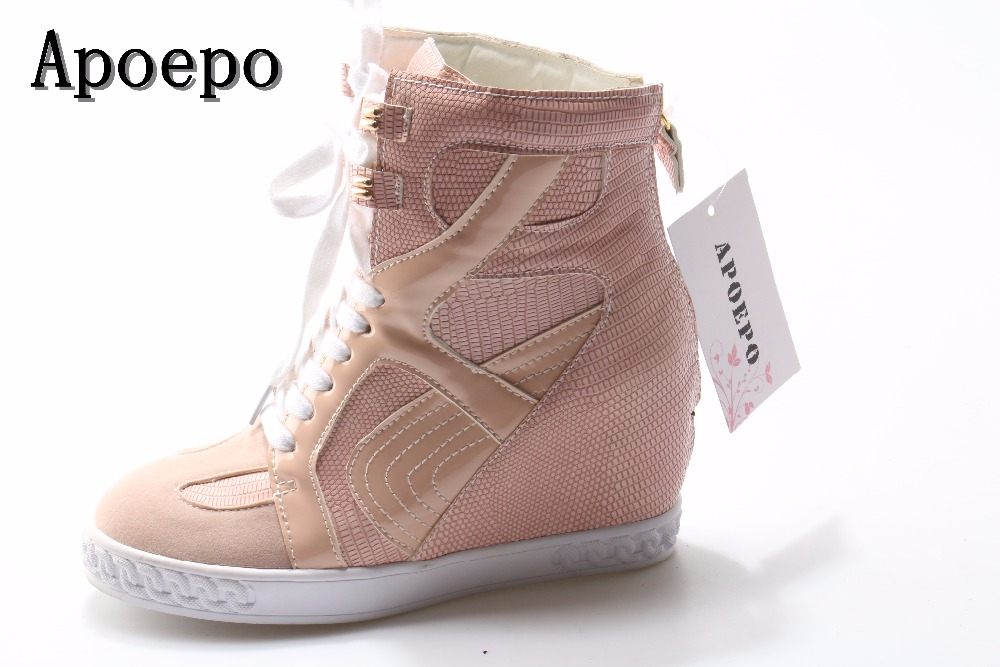 Apoepo Brand woman casual shoes round toe lace-up high top shoes 2018 leather suede height increasing shoes wedge shoes