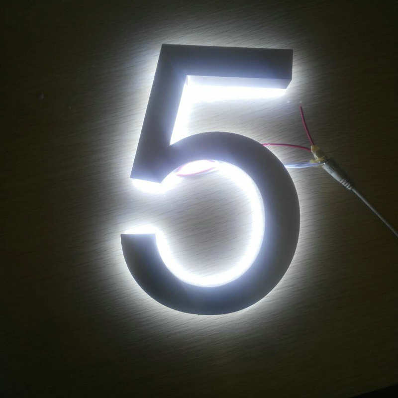 Custom Outdoor 3D Lighted Address Numbers Stainless Steel Led Backlit House Numbers