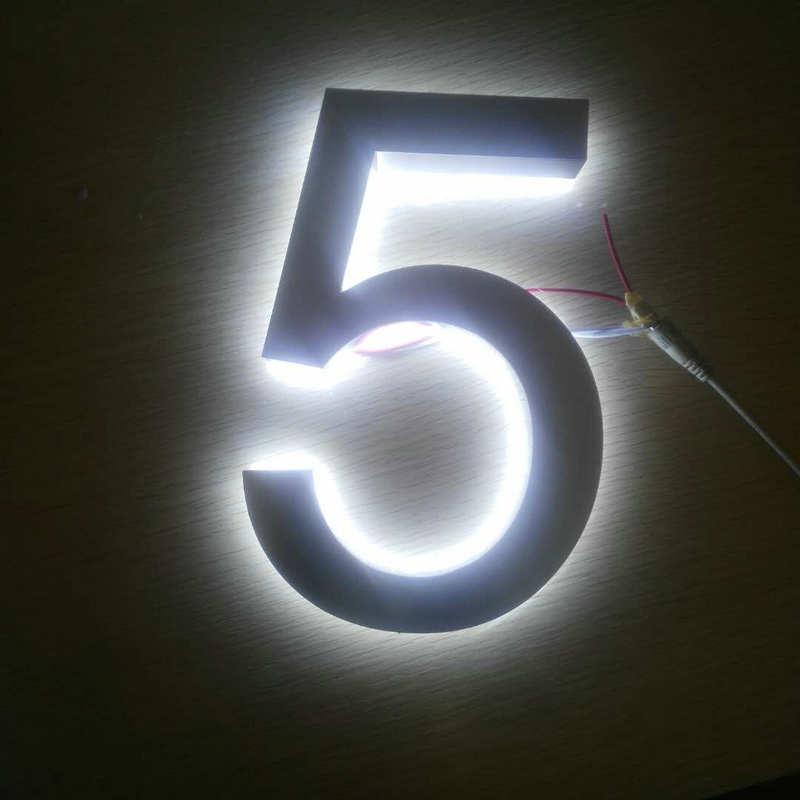 Personalizzato All'aperto 3D illuminato indirizzo numeri in acciaio inox retroilluminato a led casa numeri