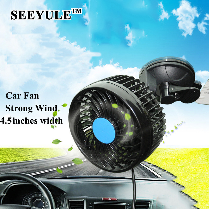 1pc SEEYULE Electric Car Fan 12V / 24V Strong Wind Low Noise Summer Adjustable Car Fan with Sucker Air Cooling Fan Accessories