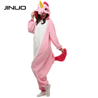 JINUO Cosplay Jumpsuits Blue Pink Unicorn Onesie Carnival Costumes For Adults Women Men Fleece Party Pajamas