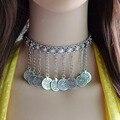 Gitano bohemio Turco de La Vendimia Collar de Gargantilla de Plata Tallado Flor Monedas Borla Colgante Cadena Collares Mujeres Joyería de Moda