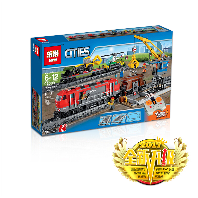 Model building toy 02009 1033pcs Building Block Compatible with lego 60098 city Train Rail Train Engineering Vehicle toy hobbies lepin 02009 1033pcs city engineering remote control rc train building block compatible 60098 brick toy