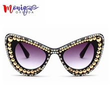 Мода Женщины Cat Eye Солнцезащитные Очки Золотые Бусы Украшения Жемчужные Солнцезащитные Очки Сияющие Стразы Мужчины Солнцезащитные Очки Винтаж Тень